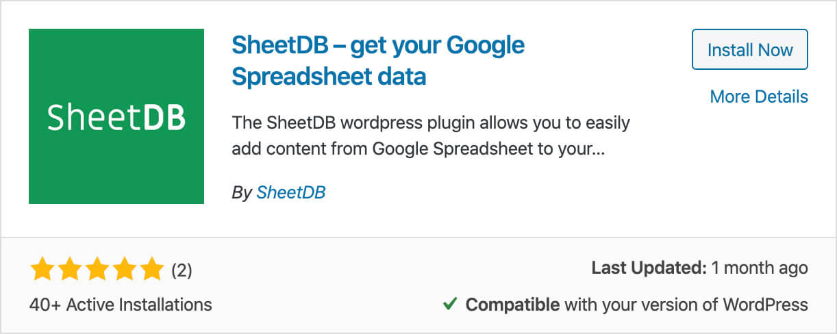 Install WordPress SheetDB API Plugin